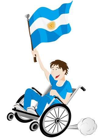 Vector - Argentina Sport Fan Supporter on Wheelchair with Flag Vector