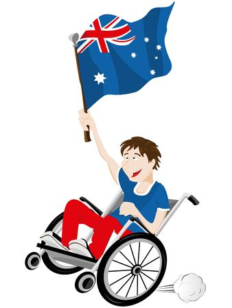 supporter: Vector - Australia Sport Fan Supporter on Wheelchair with Flag Illustration