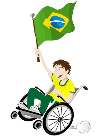impairment: Vector - Brazil Sport Fan Supporter on Wheelchair with Flag Illustration