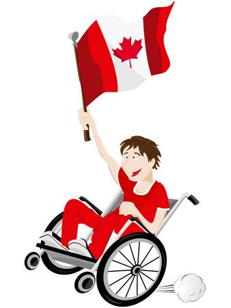 Vector - Canada Sport Fan Supporter on Wheelchair with Flag Stock Vector - 12356940