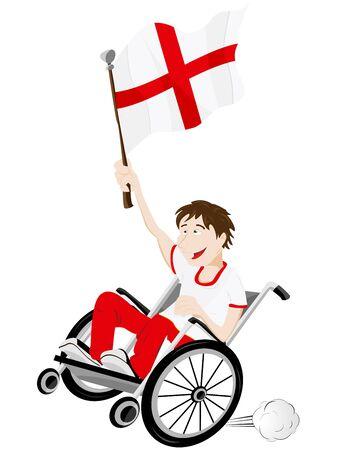 Vecteur - Supporter l'Angleterre Fan Sport sur fauteuil roulant avec le drapeau