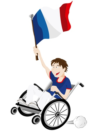 Vector - France Sport Fan Supporter on Wheelchair with Flag Vector