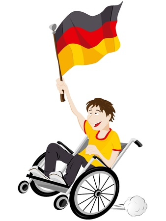 supporter: Vector - Germany Sport Fan Supporter on Wheelchair with Flag Illustration