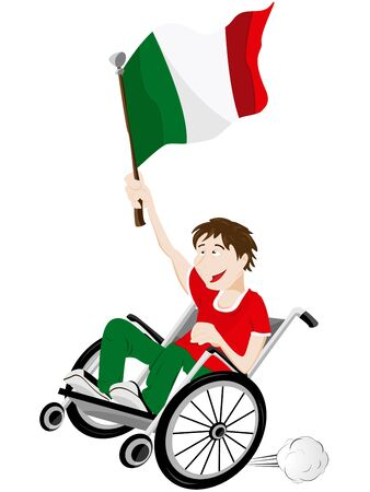 Vector - Italy Sport Fan Supporter on Wheelchair with Flag Stock Vector - 12356932