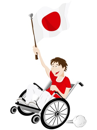 Vector - japan Sport Fan Supporter on Wheelchair with Flag Vector