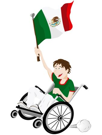 Vector - Mexico Sport Fan Supporter on Wheelchair with Flag Stock Vector - 12356949