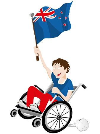 Vector - New Zealand Sport Fan Supporter on Wheelchair with Flag Stock Vector - 12356944
