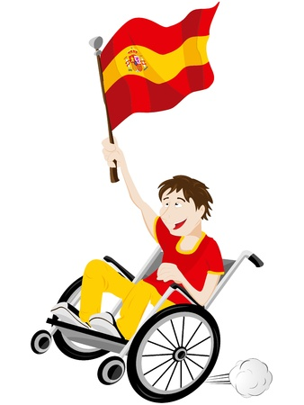 Vector - Spain Sport Fan Supporter on Wheelchair with Flag Stock Vector - 12356985