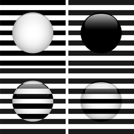 Set of Four Glass Circle Black and White Stripes Vector