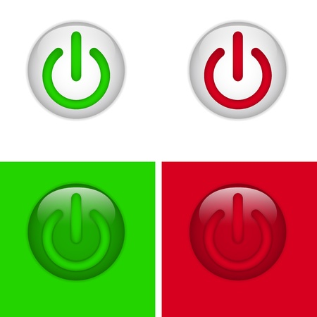 Set of On and Off Glass Buttons Stock Vector - 12497860