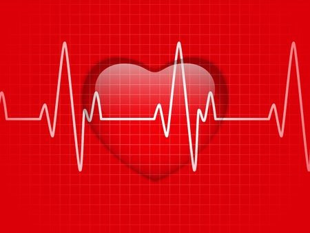 heart disease: Glossy Cardiogram Glass Red Heart