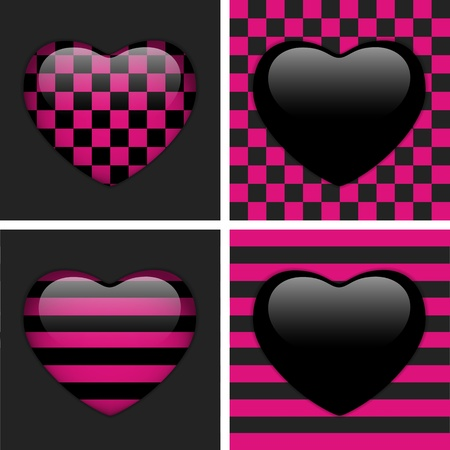 shiny heart: Set of Four Glossy Emoticons Hearts  Pink and Black Chess and Stripes Illustration
