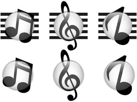 clave de sol: Conjunto de botones de cristal Música Notas