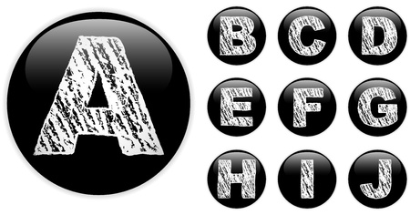 Vector - Alphabet Chalk Letters in shiny Black Buttons Stock Vector - 12749007