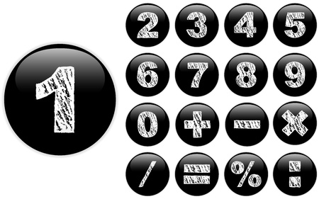 number button: Vector - Alphabet Chalk Numbers in shiny Black Buttons