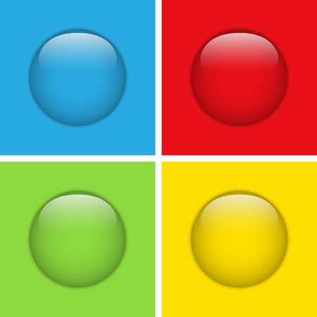 Vector - Set of Four Glass Circle Buttons Stock Vector - 12749002