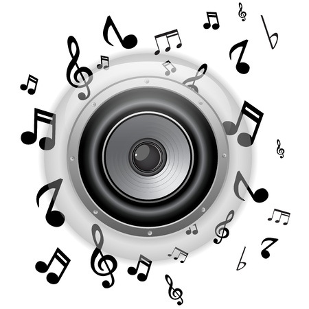 Vector - Speaker Glass Button with Music Notes Stock Vector - 12749004