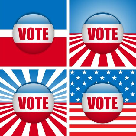 suffrage: Vector - Vote Buttons  Set of four with Background Illustration