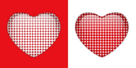 Glass Heart Texture White and Red dots Vector