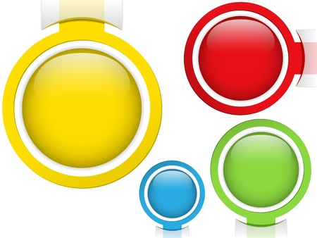 Vector - Set of Four Glass Circle Buttons Vector