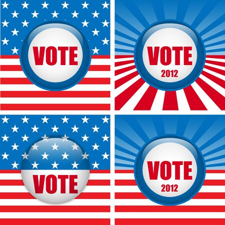 Vector - Vote Buttons  Set of four with Background Stock Vector - 13115732