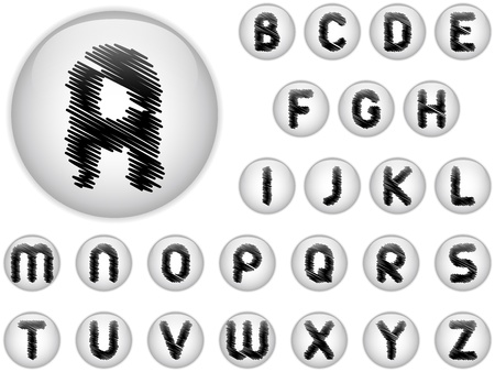 Vector - Alphabet Scribble Letters in shiny White Buttons Vector