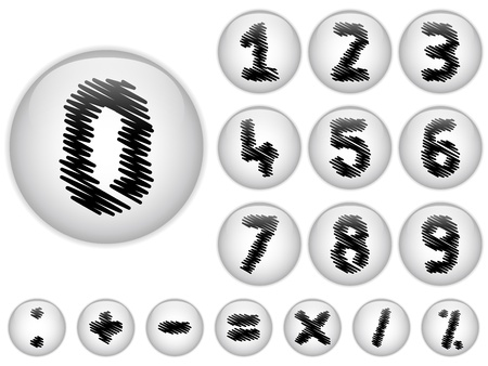 Vector - Alphabet Scribble Numbers in shiny White Buttons