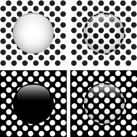Vector - Set of Four Glass Circle Black and White Dots Stock Vector - 13383558