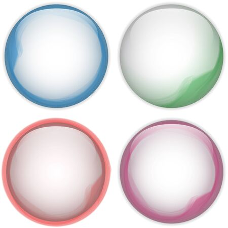 Vector - Glass Circle Button Colorful Acqua Stock Vector - 13383563