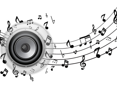 musical notes: Vector - Botón de altavoz de vidrio con notas musicales