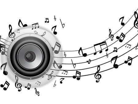 electronic music: Vector - Glass Button Speaker con note musicali Vettoriali