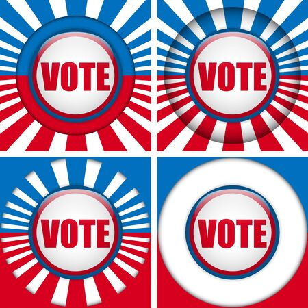 Vector - Vote Buttons. Set of four with Background Vector