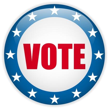 suffrage: Vector - United States Election Vote Button.