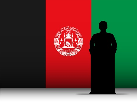lectern: Vector - Afghanistan  Speech Tribune Silhouette with Flag Background