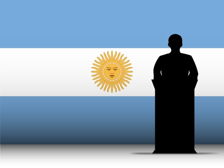 Vector - Argentina  Speech Tribune Silhouette with Flag Background Vector