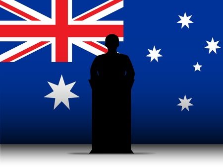 tribune: Vector - Australia  Speech Tribune Silhouette with Flag Background