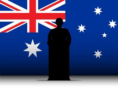 Vector - Australia  Speech Tribune Silhouette with Flag Background Stock Vector - 13444198