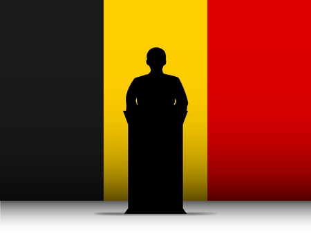 Vector - Belgium  Speech Tribune Silhouette with Flag Background Stock Vector - 13444187