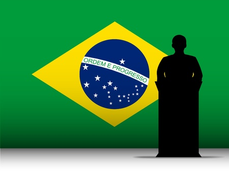 Vector - Brazilian  Speech Tribune Silhouette with Flag Background Vector