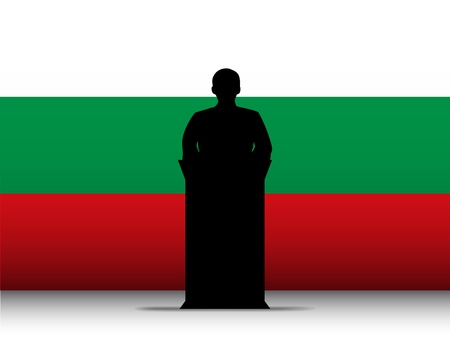 Vector - Bulgaria  Speech Tribune Silhouette with Flag Background Vector
