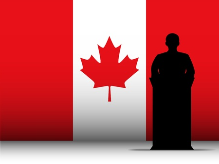 Vector - Canada  Speech Tribune Silhouette with Flag Background Vector