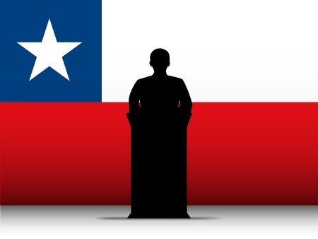 Vector - Chile  Speech Tribune Silhouette with Flag Background Vector