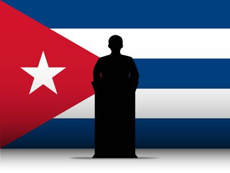 cuban flag: Vector - Cuba  Speech Tribune Silhouette with Flag Background Illustration