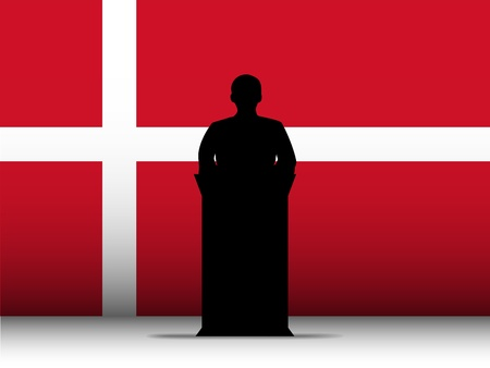 election debate: Vector - Denmark  Speech Tribune Silhouette with Flag Background