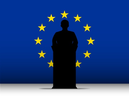 Vector - Europe  Speech Tribune Silhouette with Flag Background Vector