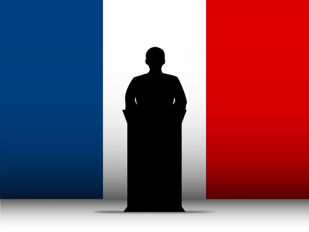Vector - France  Speech Tribune Silhouette with Flag Background Vector