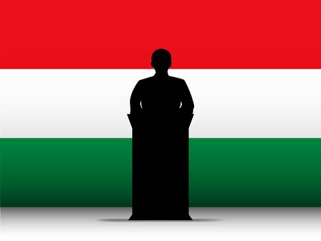 Vector - Hungary  Speech Tribune Silhouette with Flag Background Vector