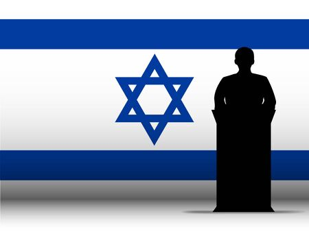 Vector - Israel  Speech Tribune Silhouette with Flag Background Stock Vector - 13444207