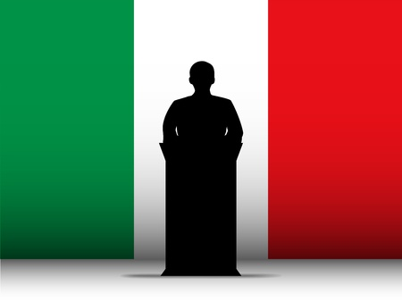 Vector - Italy  Speech Tribune Silhouette with Flag Background Vector