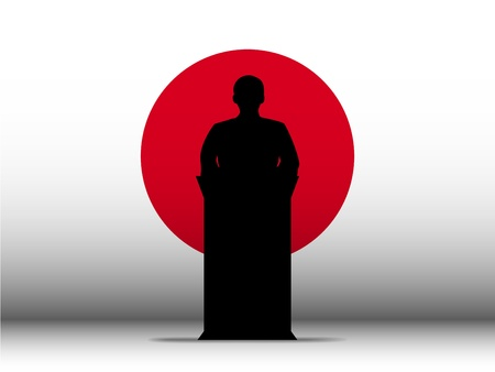 Vector - Japan  Speech Tribune Silhouette with Flag Background Vector